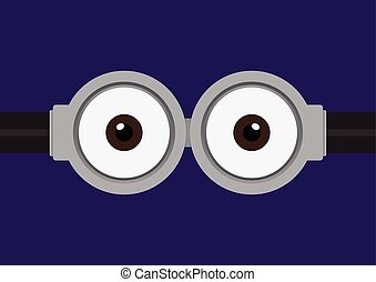 Vector illustration of goggle with two eye on purple color...
