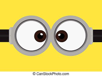 goggle with two eye on yellow - Vector illustration of...