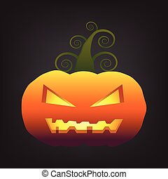 Halloween pumkin on black background vector ilustration