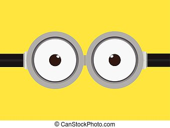 Vector illustration of goggle with two eye on yellow color...