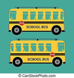 School bus yellow color on green background. Vector illustration.