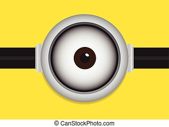 goggle with one eye on yellow - Vector illustration of...