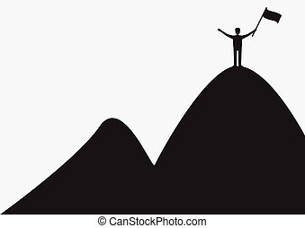Man on mountain with flag in hand a success of business concept. Vector illustration.