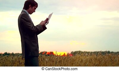 Businessman on a wheat field using a tablet. 4k -...