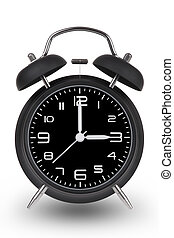 Black alarm clock with hands at 3 am or pm isolated on white...