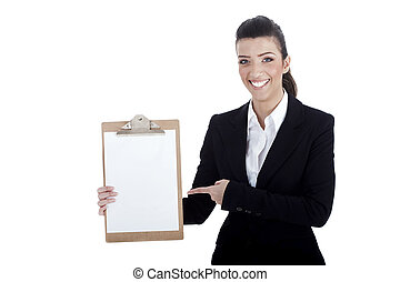 Smiling young business lady pointing the plain paper