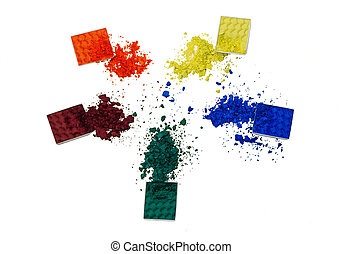 eye shadows - Top view of colorful crushed eye shadows...