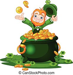 Leprechaun and Pot of gold - Cute cartoon Leprechaun sitting...