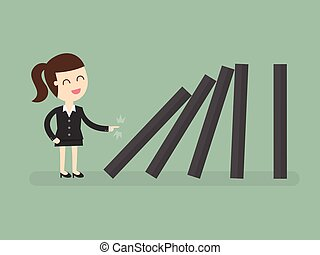 Domino effect - Business woman toppling dominoes. Domino...