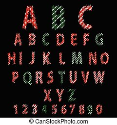 Polka Dot Alphabet. Red alphabet design in white polka dots on a black background