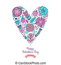 Floral heart. Heart made of flowers.