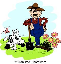 Man and dog in the garden - Man and dog in the garden on a...