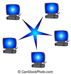 Network - Several computer in a typical network. All...