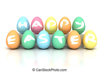 Easter Eggs on white - Stock image 3d rendered