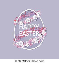 Easter background with egg and spring flower