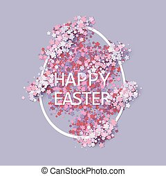 Easter background with egg and spring flower. Vector...