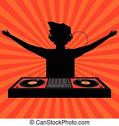 Black shadow of cheering DJ with headphone raising his arms and play a Disk jockey player with sun ray in background. Vector illustration.