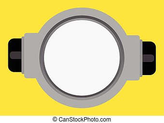 Vector illustration of goggle with on yellow color...
