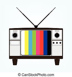 Vintage old television with color bars test image. Vector illustration in flat design.