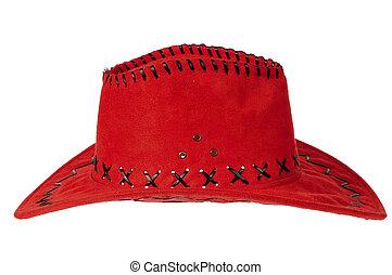sombrero, rojo, vaquero
