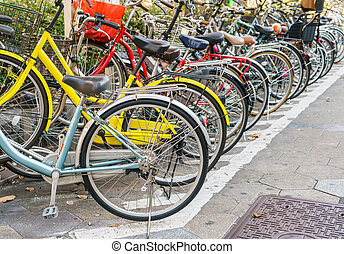 Row of bikes parking