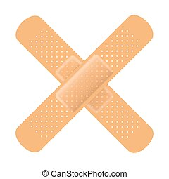 Adhesive bandage cross on white Vector