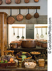 Old country style kitchen with copper pots.