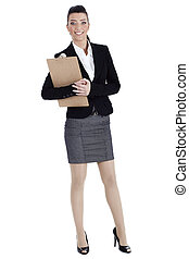 Young business woman holding the clipboard