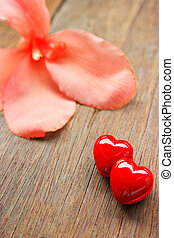 Valentines Day background with Red hearts.