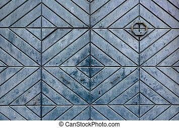 Vintage wooden door figured rhombus light green pattern