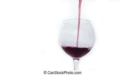 Red Wine Pouring into Glass. White Background