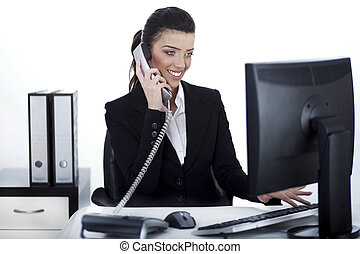Business woman busy at office over white background