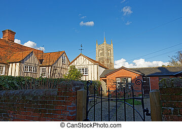 View of Dedham Village Church,UK - View over rooftops...