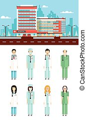 Clinic with doctors - Set stock vector illustration isolated...