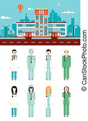 Hospital with doctors - Set stock vector illustration...