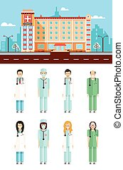 Polyclinic with doctors - Set stock vector illustration...
