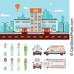 Street with hospital - Set stock vector illustration...