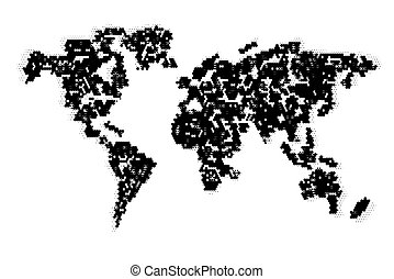 Computer graphic World map - Abstract computer graphic World...