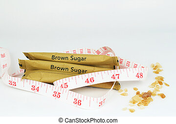 brown sugar bag on white background