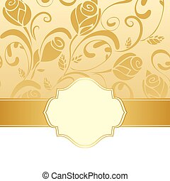 Golden floral invitation background