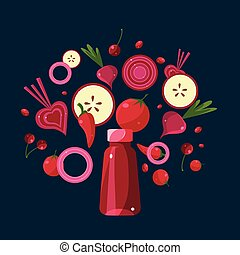 Red Smoothie Recipe Illustration of Ingredients - Red...