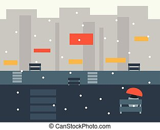 Seamless Cartoon City Landscape, Vector Illustration -...