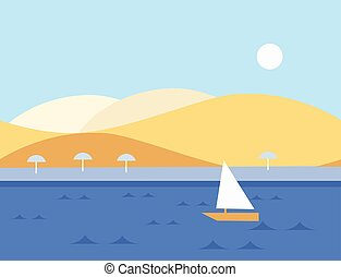 Seamless Cartoon Nature Landscape with Sailboat, Vector Illustration