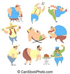 Overweight People. Vector Set
