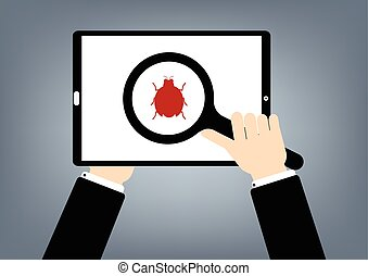 Human hand hold a magnifying glass find a red malware bug compter virus on tablet. Vector illustration computer security technology concept.
