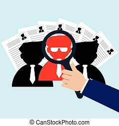 Businessman with magnifying glass selected right person for new worker. Vector illustration recruitment and human resource management concept.