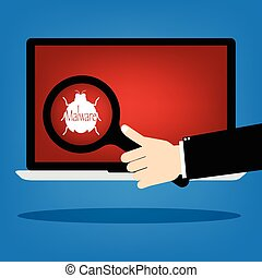 Human hand hold a magnifying glass find malware bug computer virus on laptop notebook with red background. Vector illustration business computer security technology concept.