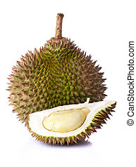 Durian - King of fruits, durian on white background