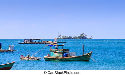 Vietnamese Fishing Boats Rock in Bay against Island on...