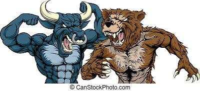 Bear Versus Bull Concept - A cartoon bear fighting a cartoon...